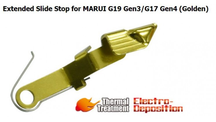 Guarder Extended Slide Stop for MARUI G19 Gen3/G17 Gen4 (Golden)