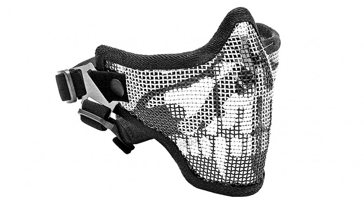 V5 Strike Steel Mesh Half Face Mask Airsoft Face Protecter (Skull Pattern)