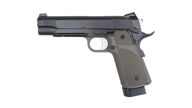 KJ Works KP-05 HI-CAPA Full Metal Black GBB Pistol OD(Gas and CO2)